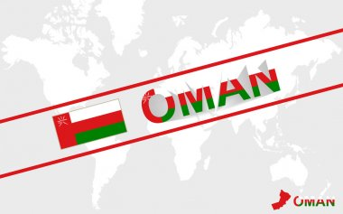 Oman map flag and text illustration