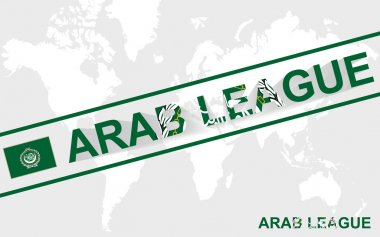 Arab League flag and text illustration