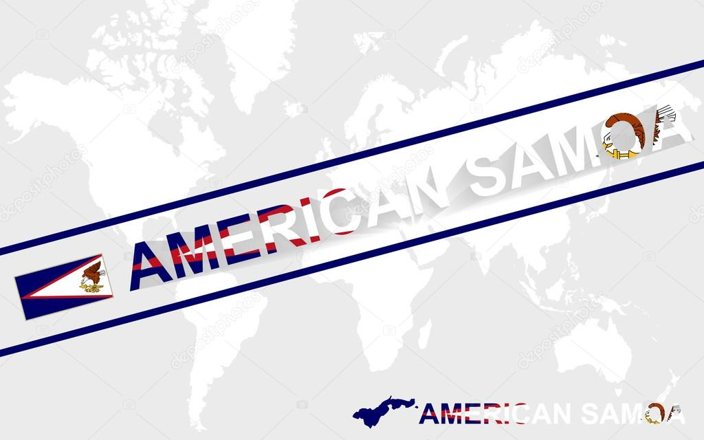 american samoa map flag and text illustration stock vector