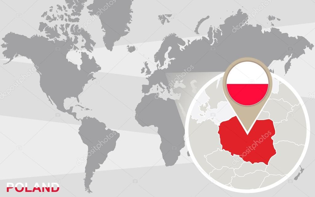 Mapa De Localização De Pontos De Vetor Localização De: Mapa-múndi Com A Polônia Ampliada