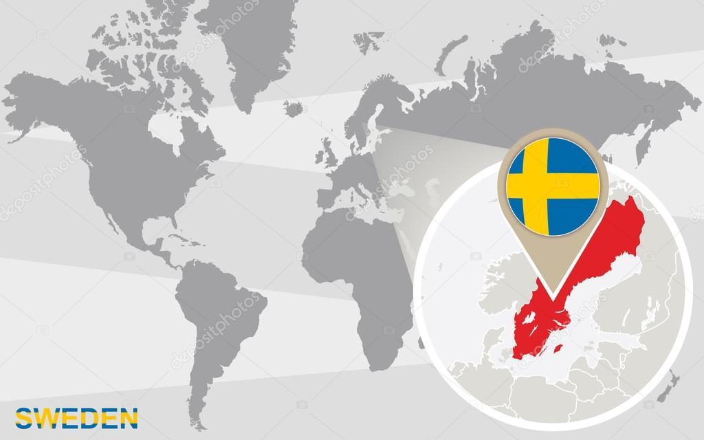 mapa mundo suecia Suecia mapa mundi | Mapa mundial con Suecia magnificada — Vector  mapa mundo suecia