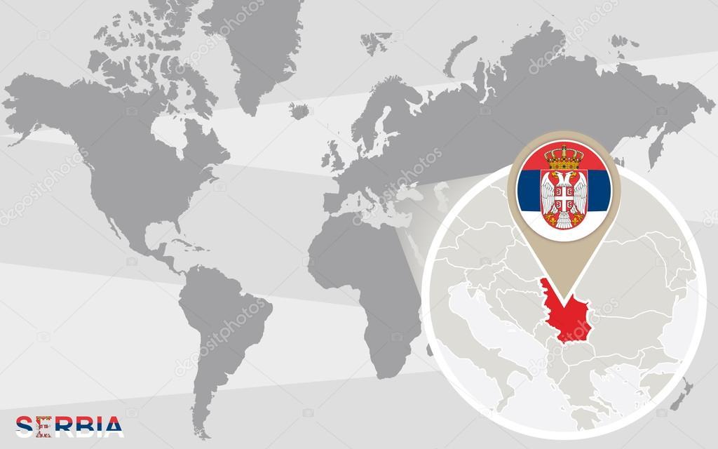 Mapa De Localização De Pontos De Vetor Localização De: Mapa-múndi Com A Sérvia Ampliada