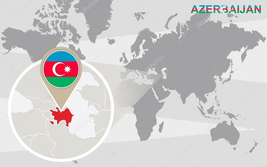 World Map With Magnified Azerbaijan Stock Vector C Boldg 70432517