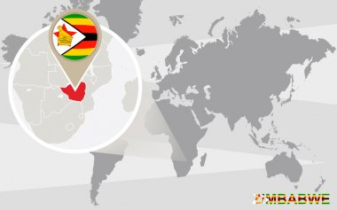World map with magnified Zimbabwe