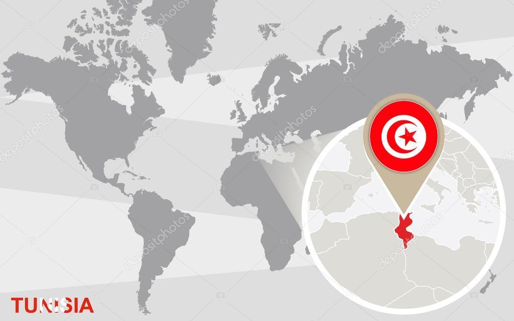 Tunesien Karte Welt.Weltkarte Mit Vergrosserten Tunesien Stockvektor C Boldg