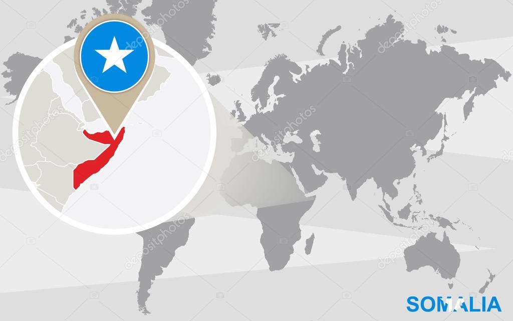 World Map Somolia.World Map With Magnified Somalia Stock Vector C Boldg 70796393