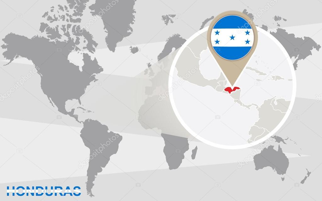 Mapa mundial con honduras magnificada archivo imgenes vectoriales world map with magnified honduras honduras flag and map vector de boldg gumiabroncs Images