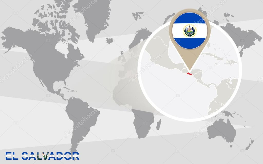 Mapa del mundo con magnificado el salvador vector de stock boldg world map with magnified el salvador el salvador flag and map vector de boldg gumiabroncs Gallery