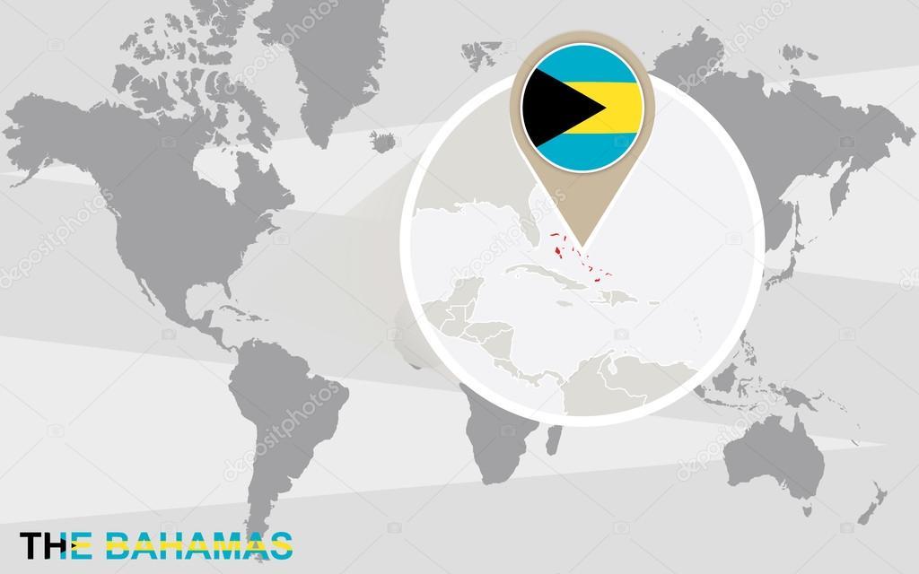 Carte Du Monde Bahamas.Carte Du Monde Avec Agrandie Aux Bahamas Image Vectorielle
