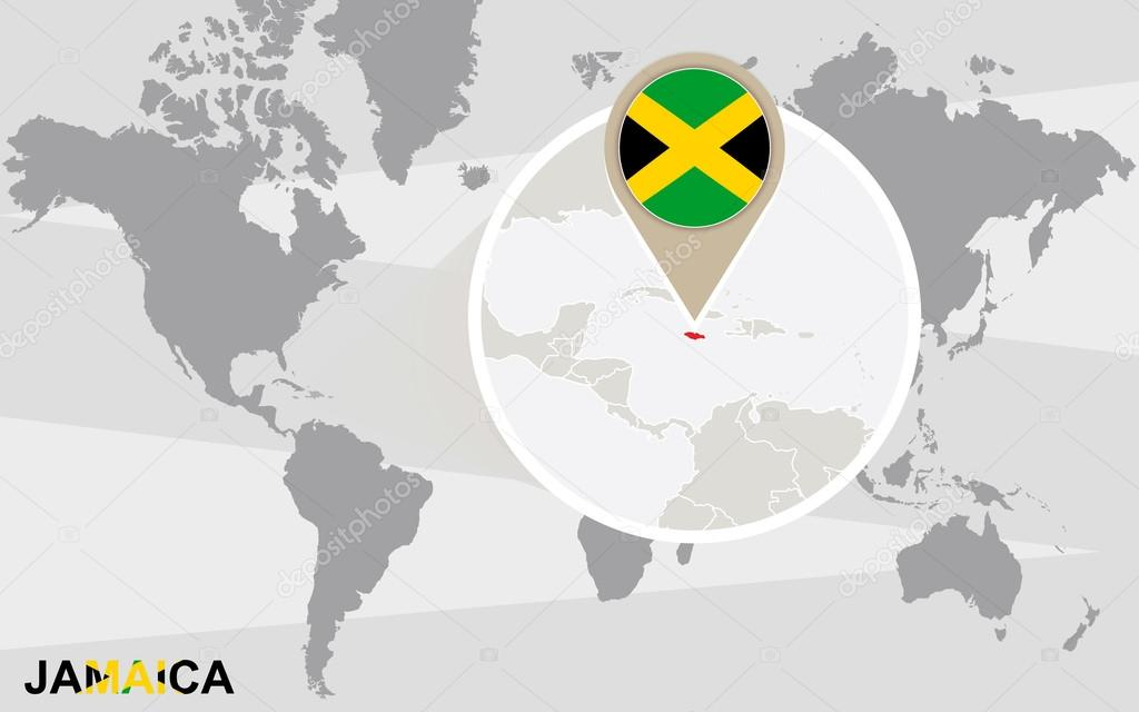 Mapa del mundo con jamaica magnificada archivo imgenes world map with magnified jamaica jamaica flag and map vector de boldg gumiabroncs Images