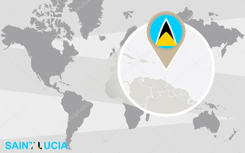 Image of: World Map With Magnified Saint Lucia Saint Lucia Flag And Map Premium Vector In Adobe Illustrator Ai Ai Format Encapsulated Postscript Eps Eps Format