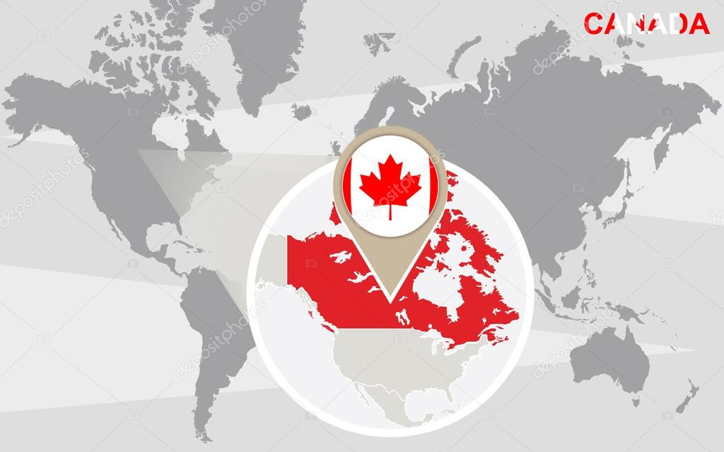 World Map With Magnified Canada Stock Vector C Boldg 71171905