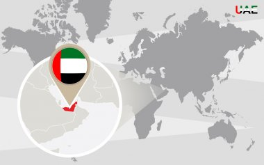 World map with magnified United Arab Emirates