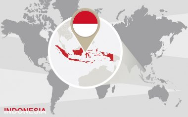 World map with magnified Indonesia