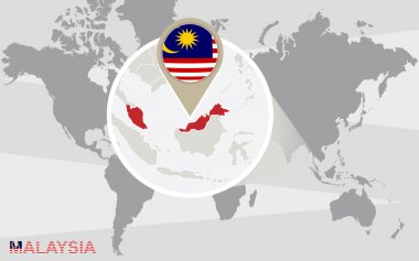 World map with magnified Malaysia