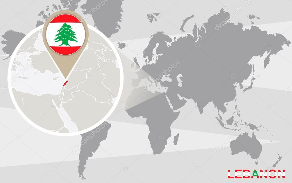 Mapa mundial con lbano magnificada archivo imgenes vectoriales world map with magnified lebanon lebanon flag and map vector de boldg gumiabroncs Image collections