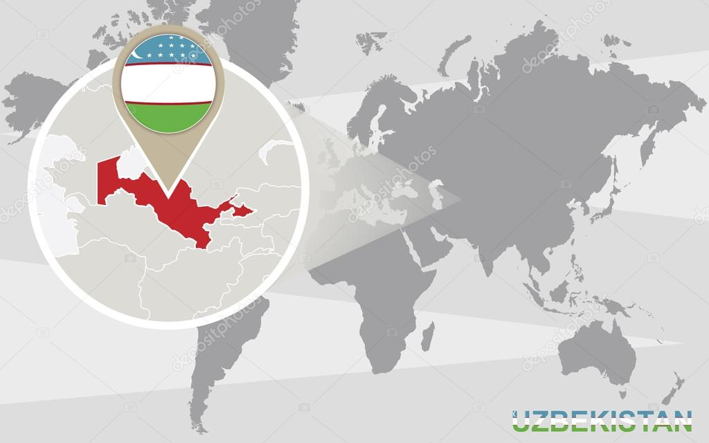 World map with magnified Uzbekistan — Stock Vector © boldg ...