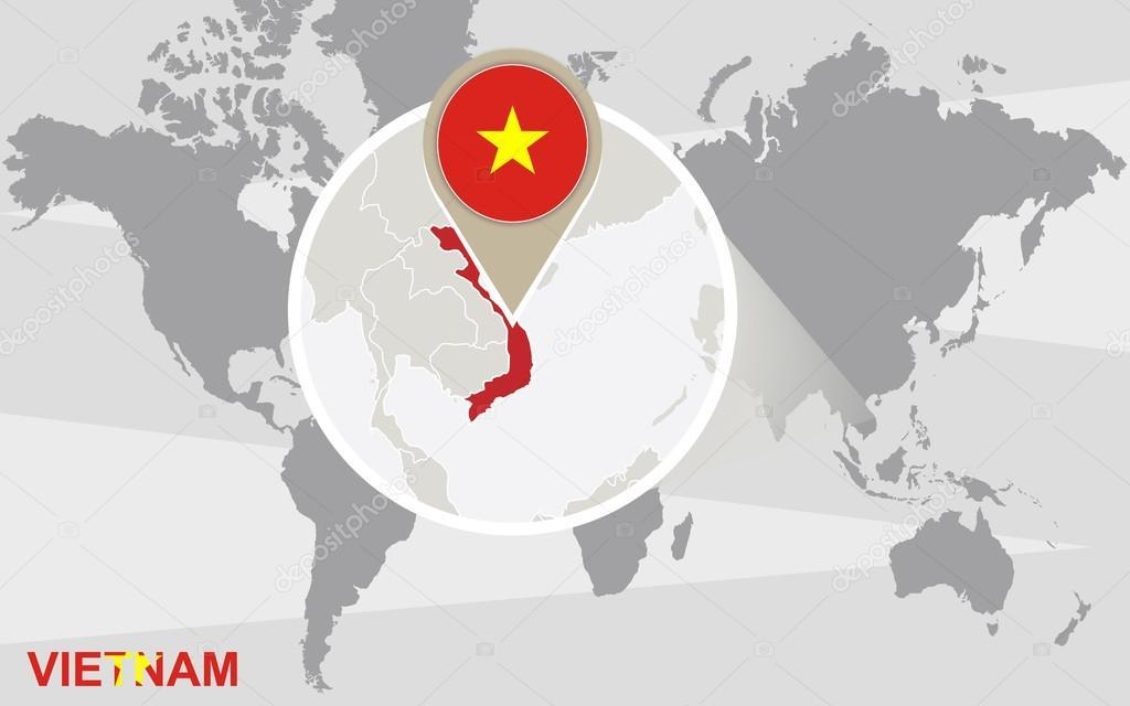 Mapa mundial con vietnam magnificada vector de stock boldg 71482315 world map with magnified vietnam vietnam flag and map vector de boldg gumiabroncs Image collections