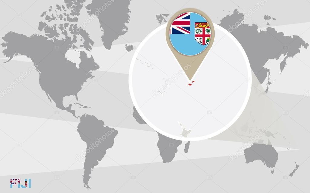 Mapa Mundial Con Fiji Magnificada Vector De Stock C Boldg
