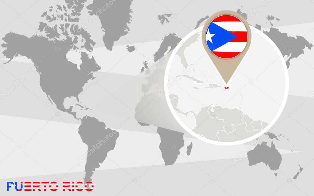 Picture of: World Map With Magnified Puerto Rico Stock Vector C Boldg 77620168