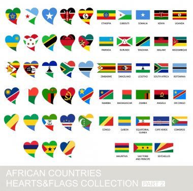 African countries set, hearts and flags, part 2