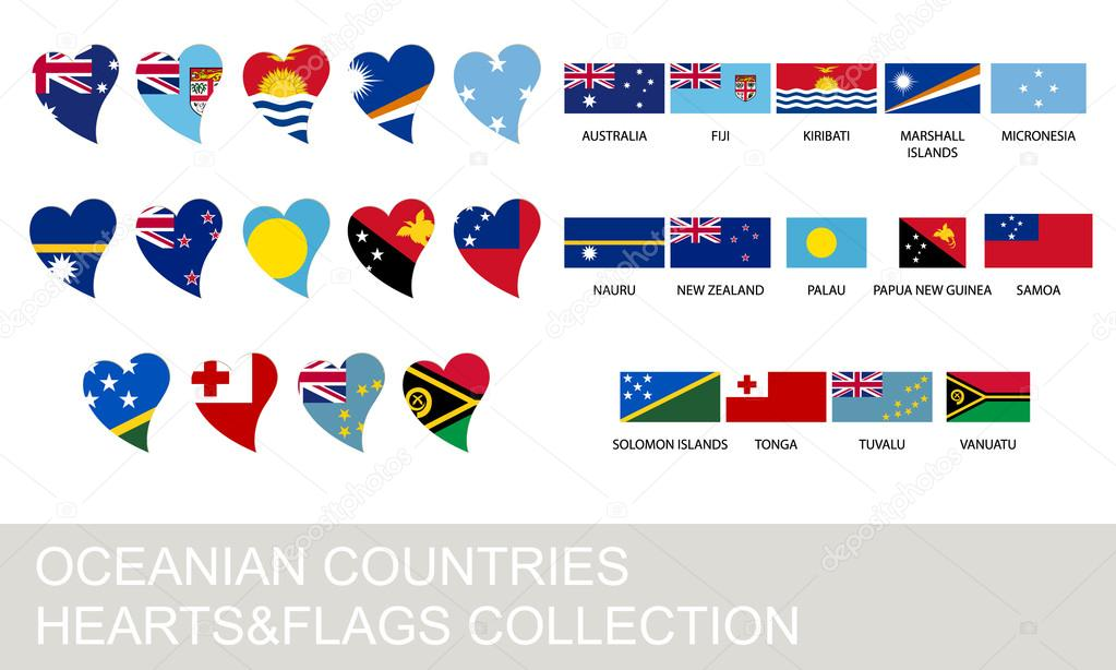 Paises de oceania con sus banderas