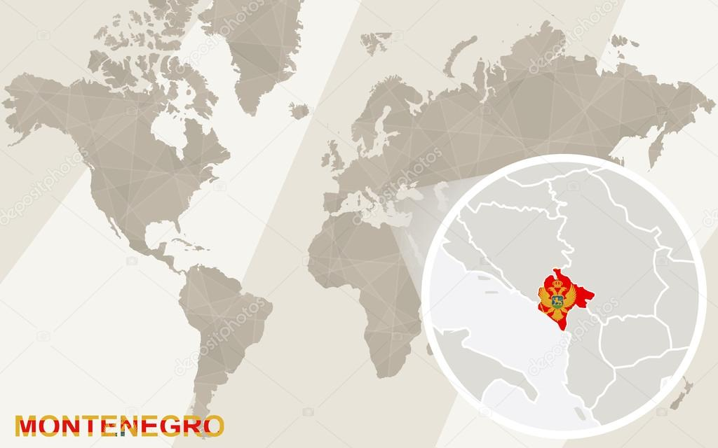 Zoom On Montenegro Map And Flag World Map Stock Vector Boldg - Montenegro map download