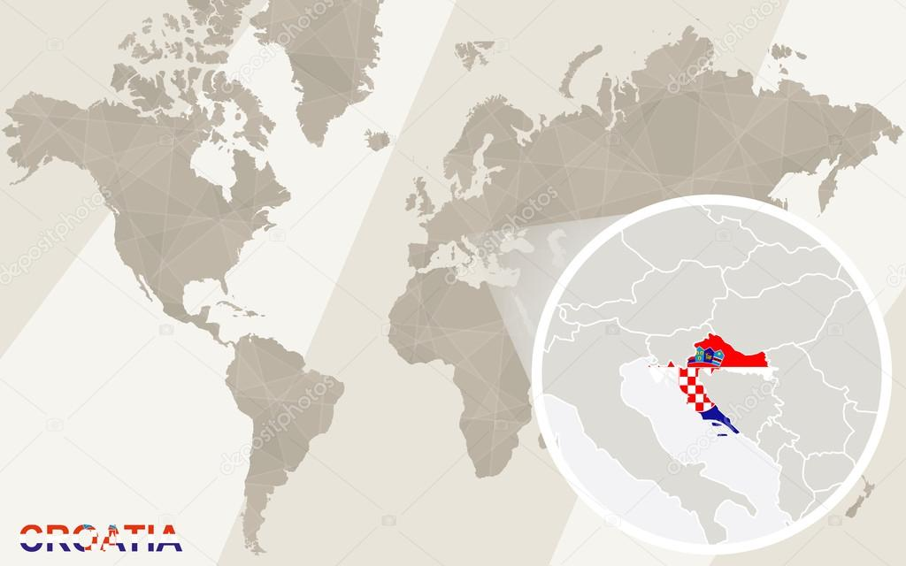 Zoom On Croatia Map And Flag World Map Stock Vector C Boldg