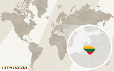 Zoom on Lithuania Map and Flag. World Map.