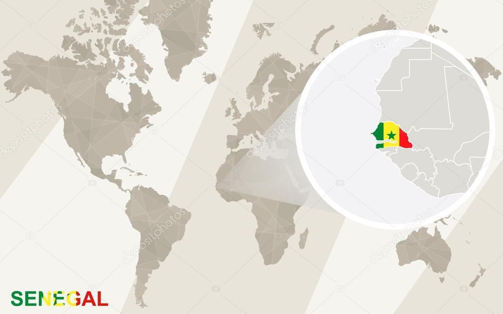 Zoom On Senegal Map And Flag World Map Stock Vector Boldg - Senegal map vector