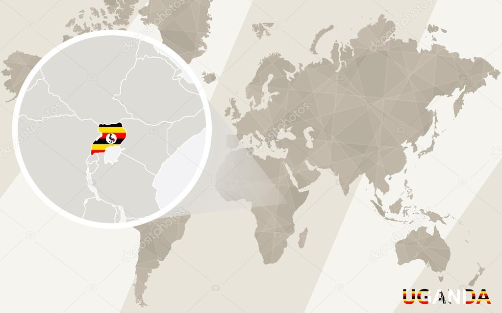 Zoom on Uganda Map and Flag. World Map. — Stock Vector © boldg #88550770