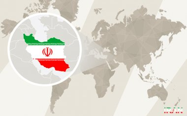 Zoom on Iran Map and Flag. World Map.