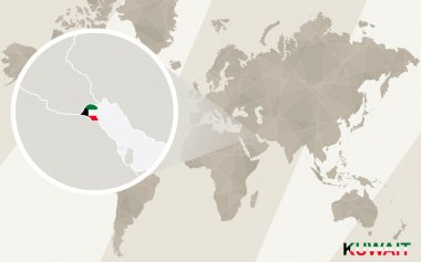 Zoom on Kuwait Map and Flag. World Map.