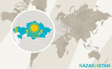 Zoom on Kazakhstan Map and Flag. World Map.