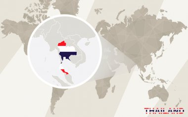 Zoom on Thailand Map and Flag. World Map.