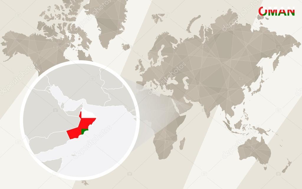 オマーンの地図と国旗を拡大できます世界地図 ストック