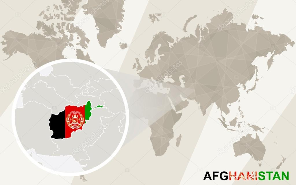 Zoom on Afghanistan Map and Flag. World Map. — Stock Vector © boldg ...