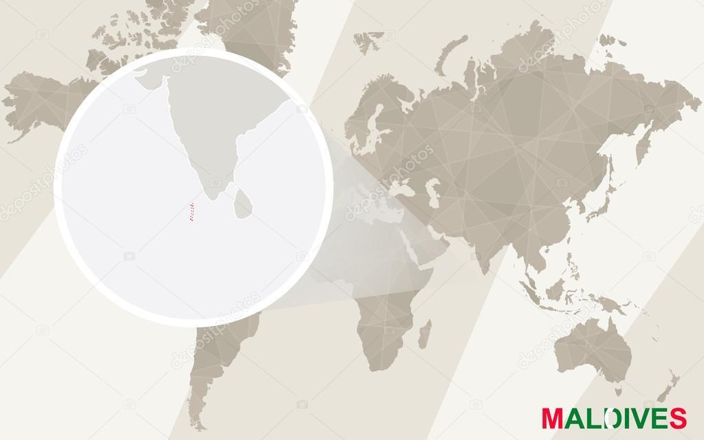 Zoom On Maldives Map And Flag World Map Stock Vector Boldg - Maldives map world