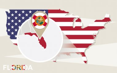USA map with magnified Florida State. Florida flag and map.