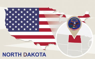 USA map with magnified North Dakota State. North Dakota flag and