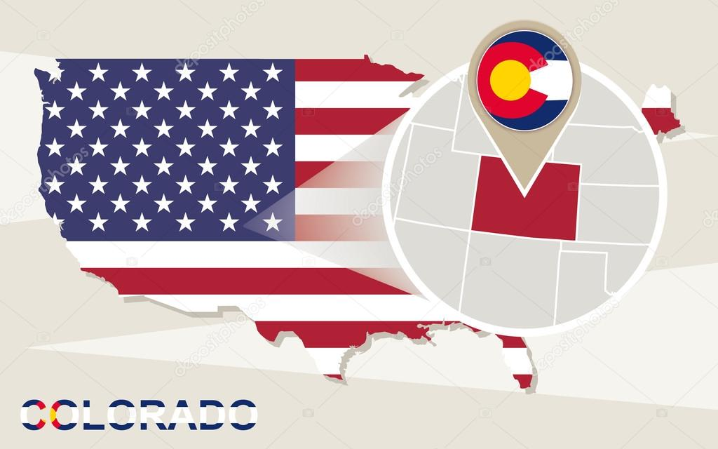 Colorado In Usa Map.Usa Map With Magnified Colorado State Colorado Flag And Map