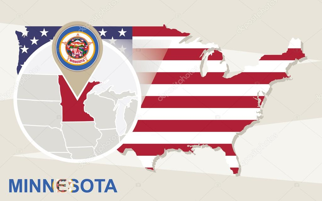 USA map with magnified Minnesota State Minnesota flag and map