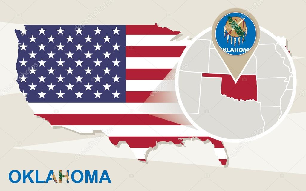 usa map with magnified oklahoma state oklahoma flag and map stock vector