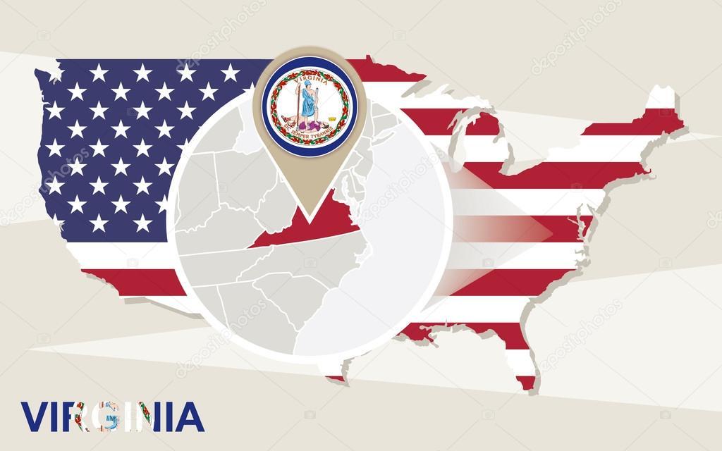 Mapa de Estados Unidos con el estado Virginia magnificada. Mapa y ...