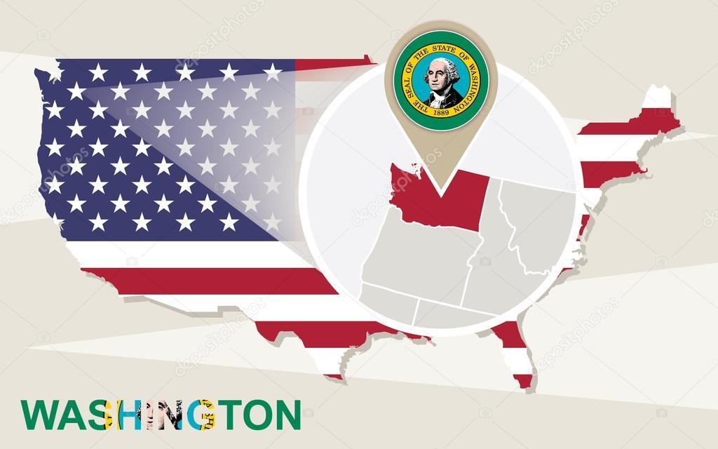 USA map with magnified Washington State. Washington flag and map ...