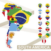 Fotografie Vector map of South America with flags