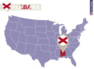 Alabama State on USA Map. Alabama flag and map.