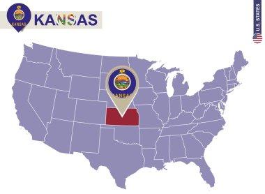 Kansas State on USA Map. Kansas flag and map.