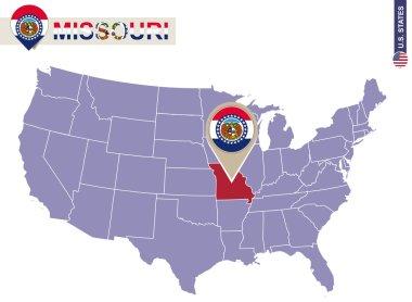 Missouri State on USA Map. Missouri flag and map.
