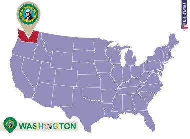 Washington State on USA Map. Washington flag and map.